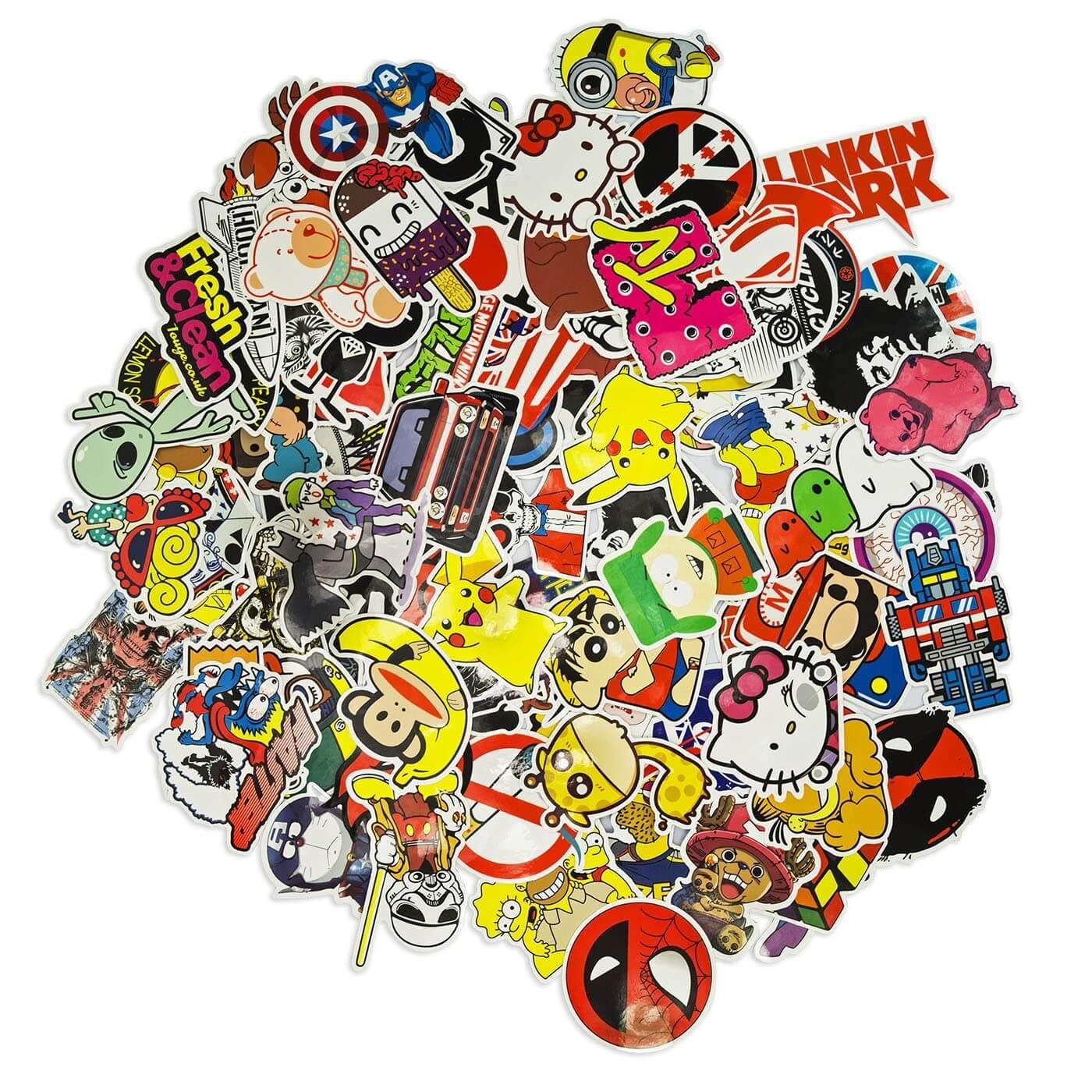 100 aufkleber sticker bomb retro graffiti style tuning logos marken decal set 4