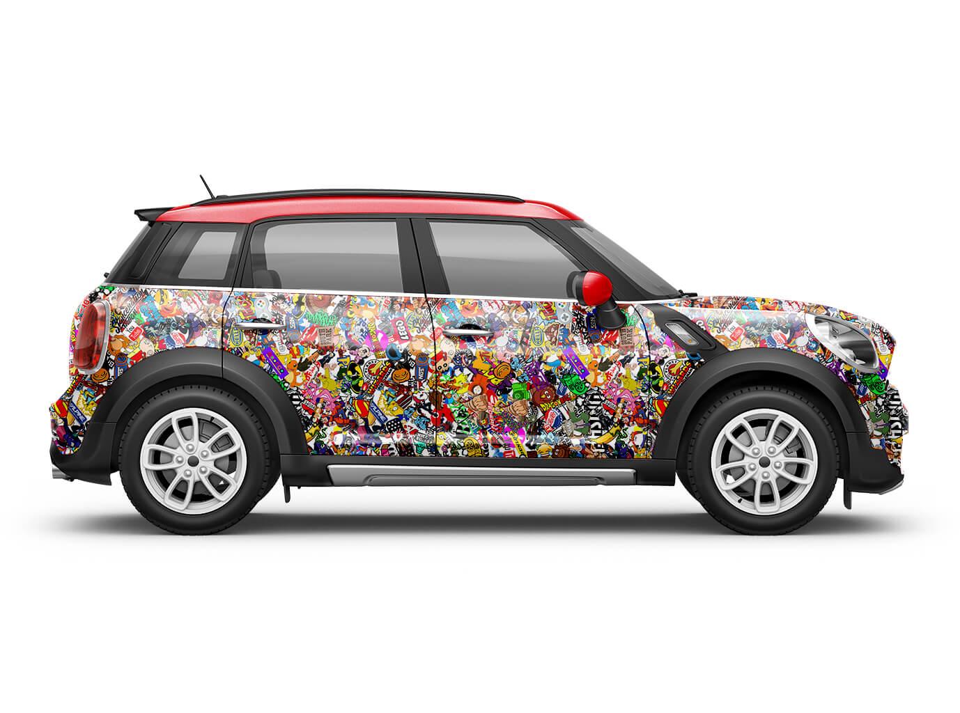 Sticker Bomb Cartoon Auto Folie Fürs Car Wrapping Mit Luftkanälen